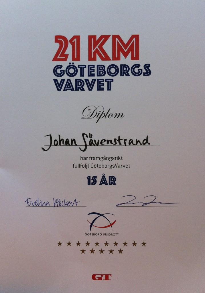 Göteborgsvarvet 15-årsdiplom