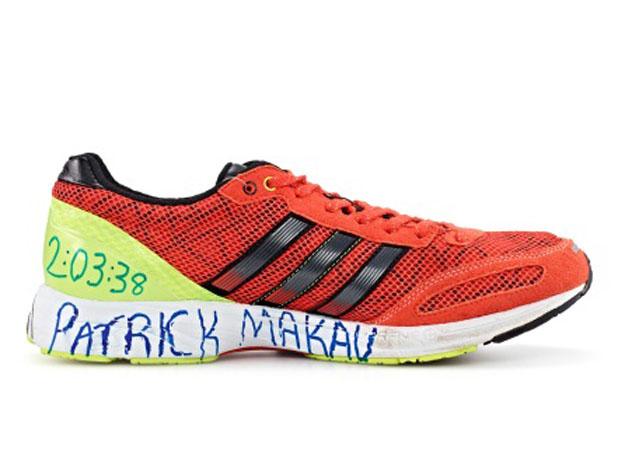 De Adidas Adios 2 som Patrick Makau hade på fötterna när han satte världsrekord i Berlin 2011. Foto från Adidas-Group.com