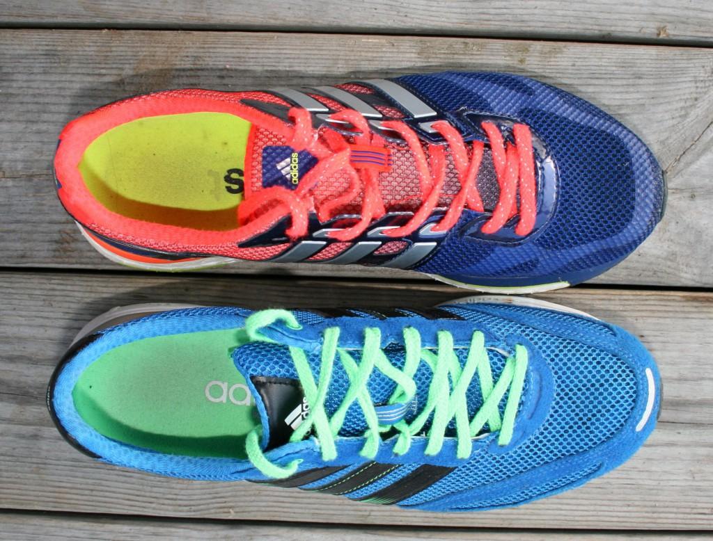 Adidas Adios Boost överst, Adidas Adios 2 underst