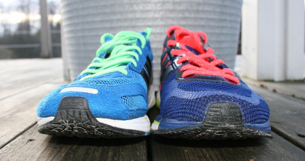 Adidas Adios 2 till vänster, Adios Boost till höger