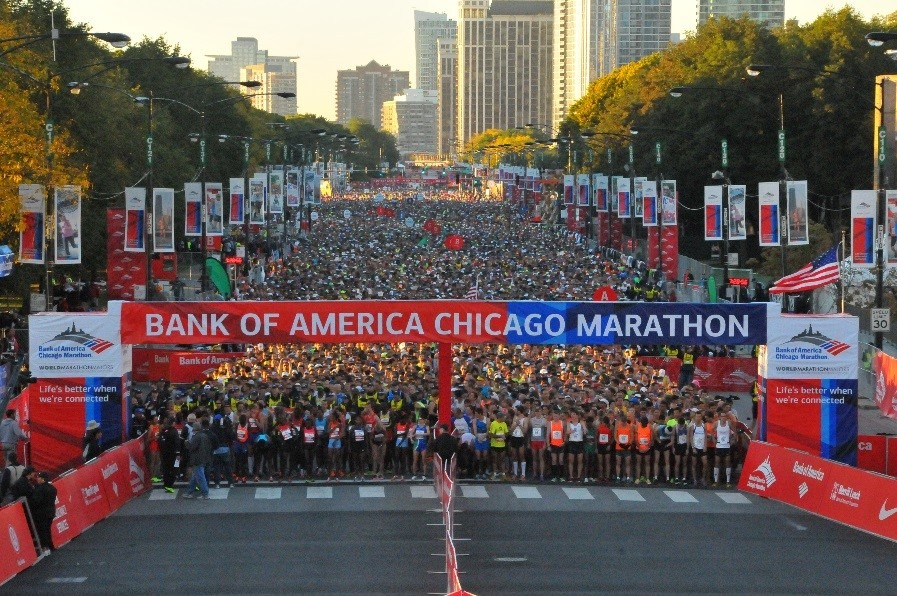 Bank of Chicago Marathon start. Foto: Bank of America Chicago Marathon Facebook
