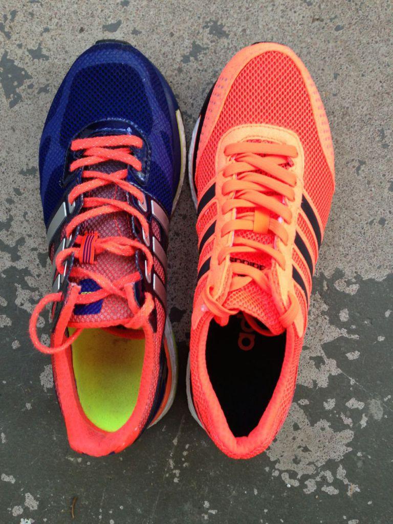 Adidas Adios Boost 1 (till vänster) & 2.0 (till höger)