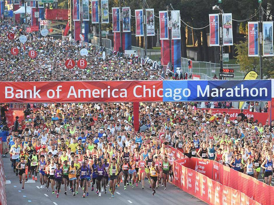 Starten av Bank of America Chicago Marathon