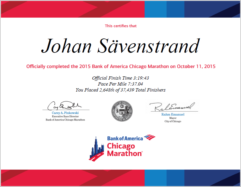Bank of America Chicago Marathon Finisher